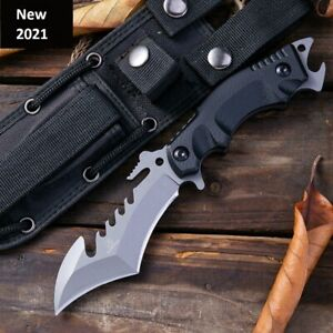 Outdoor Tactical Fixed Knife Camping 8CrMoV Titanium Blade Hunting Survival Tool