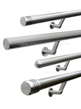 Brushed Stainless Steel Contemporary Stair Handrail - Select Bannister End Type