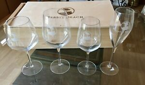 Boxed Set Of 4 Different Pebble Beach Wine Glasses Signed Luigi Bermioli