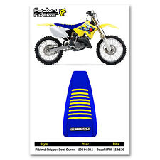 2001-2017 SUZUKI RM 125/250 All Blue with Yellow RIBBED SEAT COVER By Enjoy MFG