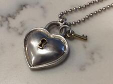 "Vintage Tiffany & Co Sterling Silver/18K Heart Lock Key, 34"" Bead Chain Necklace"