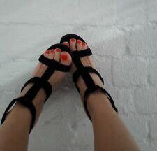 YVES SAINT LAURENT Black Velvet Venice Sculpted Wedge Sandals Shoes UK 5 Eur 38