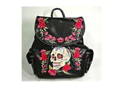 """Embroidered """"Dia Del Muerte"""" Concealable Weapon Sugar Skull Drawstring Backpack"""