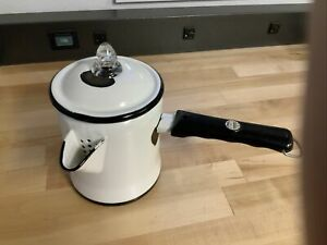 Vintage White & Black MEMCO enameled percolator coffee pot