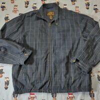 Vintage 80s Eddie Bauer Plaid Harrington Jacket Mens LARGE Blue Green Cotton USA