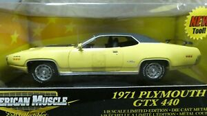 American Muscle ERTL 1971 Plymouth GTX 440 Yellow 1/18 Limited Edition MIB