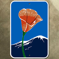 California poppy scenic route highway marker road sign 1971 mountain