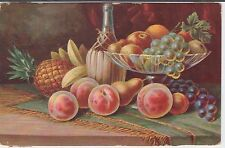 Still Life Fruit on Tassa and Table Chianti Bottle Vintage Postcard