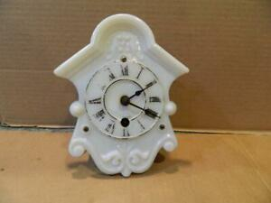 """H. J. Davies -  Ansonia Milk Glass Face Wall Clock """"The Young America"""" Antique"""