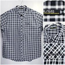 Under Armour UA Mens XL Heat Gear Seersucker Shirt Short Sleeve Button Up Check