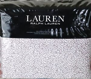 Ralph Lauren Spencer Leaf Sateen CAL KING Sheet Set Deep Lavender