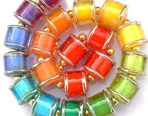 FRISKEY handmade Lampwork Glass Beads, EDGED RAINBOW!!!
