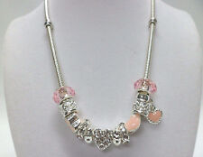 European Style Heart Crystal Charm Necklace Pink w/ Glass Beads Gift Box
