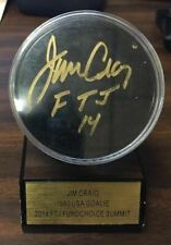 JIM CRAIG 1980 AUTOGRAPHED HOCKEY PUCK IN CASE AND STAND
