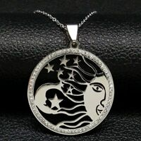 Moon Star Sun 316L Stainless Steel Crystal Pendant Necklace Rolo Chain