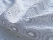 Broderie Anglaise on cotton lawn, 'Amelia A' White (per metre) dress fabric
