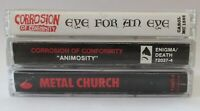 3 Vintage Heavy Thrash Metal Cassette Tapes Corrosion of Conformity Metal Church
