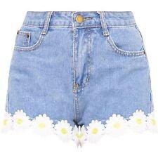 Pretty Little Thing Light Wash Daisy Print Shorts Size UK M Blue DH077 DD 09
