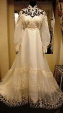 Vintage 1970s William Cahill Wedding Dress Long sleeves & High Neck Size 12