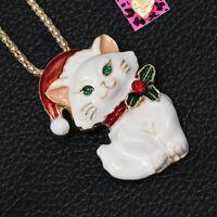 Women's Enamel Crystal Hat Cat Kitten Pendant Betsey Johnson Necklace/Brooch Pin