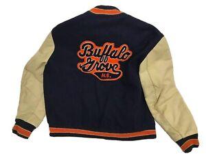 Vintage DeLong Buffalo Grove High School Letterman Jacket Wool Leather Size 44