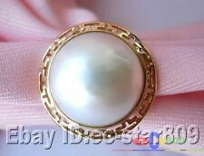 14KT HUGE REAL 20MM WHITE SOUTH SEA MABE PEARL RING P787
