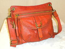 FOSSIL  SASHA  RED  ORANGE   GENUINE   LEATHER  SMALL CROSSBODY  BAG