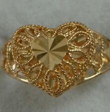 18K Yellow Gold Diamond Cut Heart Shape Ring - Women 3.2 Grams size 6.