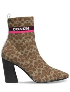 Women's COACH Women's Tasha Logo Sock Booties Tan Size 10 $225