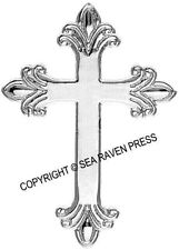 Budded Latin Fleuree Cross Pendant - sterling silver appearance