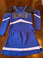 cheer uniform MA top SA skirt Blue white and black motionwear