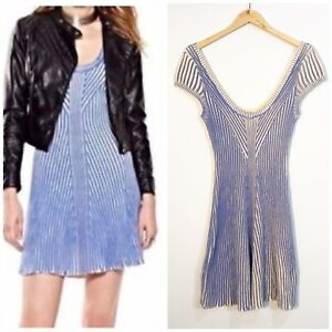 NWOT FREE PEOPLE Hot Off The Press Dress Sweater Ribbed Striped Blue Creme Small