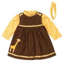 Gymboree Baby Giraffe Outfit 12-18 Brown Jumper Dress Yellow Bodysuit Top Shirt