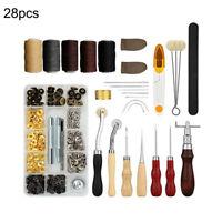 28 Stück Leder Handwerk Hand Nähte Näh Werkzeug Set DIY Kit Nähzeug Zubehör Tool