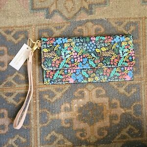 New ANTHROPOLOGIE RIFLE PAPER CO. Meadow Floral Travel Wallet Wristlet