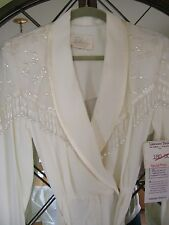 Vtg KAREN KWONG Ivory Beaded Sequins Winter White Jumpsuit Pants Outfit NWT s 10