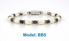 High power magnetic black hematite with Tiger's-eye stone beads bracelet