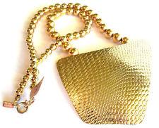 Karla Jordan Signed Huge Gold Pendent Bead Necklace VTG