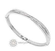 Simulated Diamond/Crystals Cross Design Bangle/Bracelet/Wedding/RGB030S
