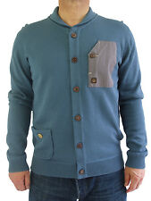 NEW Duck & Cover Mens Size L XL Blue Button Up Knit Cardigan