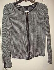 Mod Biker Steampunk Black White Tweed Textured Knit Cropped Sweater Jacket Top M