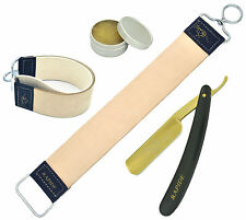 STRAIGHT CUT THROAT SHAVING RAZOR GOLDEN COAT + HONING PASTE + LEATHER STROP SET
