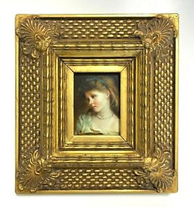 Miniature Portrait of Young Girl | Wood Frame Gold Contemporary Hand Painted