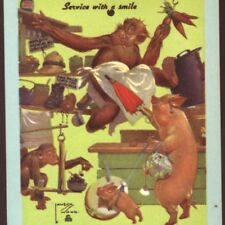 """""""SERVICE WITH A SMILE"""" SALESMAN MONKEY SELLS TO LADY PIG,HATS,SHOES,BLANK CARD"""