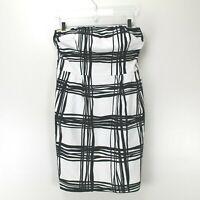Express Design Studio Womens Black White Abstract Print Strapless Dress Size 12