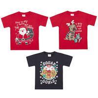 Childrens Girls Boys Christmas T-shirt Xmas Novelty 100% Cotton Glitter Top Tee