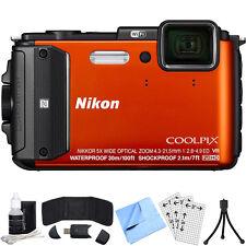 Nikon COOLPIX AW130 16MP Digital Camera w/Wi-Fi (Orange) Refurbished Bundle