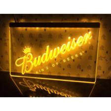 Budweiser LED Neon Bar Sign Home Light Up Pub Bud Beer Lager Mancave Drink Club