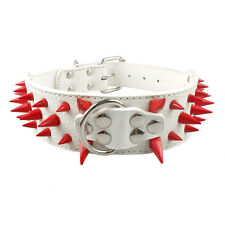 """2.0"""" Wide Cool Sharp Spiked Studded Leather Dog Collar for Pitbull Mastiff Bully"""
