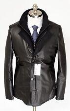 Mens DI BELLO Italy Black Leather Cashmere Zip Car Coat 4Btn Jacket 52 L 42 NWT